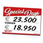 """Verkaufsschild A3 """"Special Days"""", rot"""