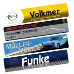 """Werbeschilder """"Miniletter"""" aus Acryl mit Werbung"""