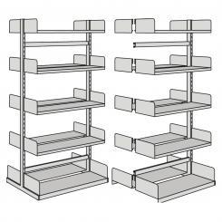 Grundfeld für Freiarm-Regal, doppelseitig 2000 mm mit 2 x 5 Böden   1000 mm