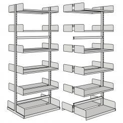 Grundfeld für Freiarm-Regale, doppelseitig 2250 mm mit 2 x 6 Böden   1000 mm