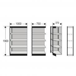 Corner Shelf Unit for office shelf, with rear wall  | 500 mm