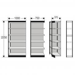 Eckregalfeld für Büro-Regal, mit Rückwänden 2250 mm und 6 Fachböden   400 mm