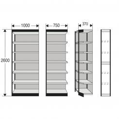 Regalfeld für Büro-Regal, mit Rückwand 2600 mm und 7 Fachböden | 750 mm