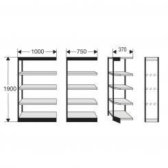 Eckregalfeld für Büro-Regal, ohne Rückwand 1900 mm und 5 Fachböden | 300 mm