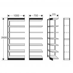 Shelf Unit for office shelf, without rear wall  | 1000 mm