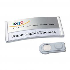 Name badge with magnetic holder, stainless steel, 50 piece