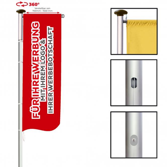 Fahnenmast mit Ausleger, hissbar | 8 m x Ø 75 mm