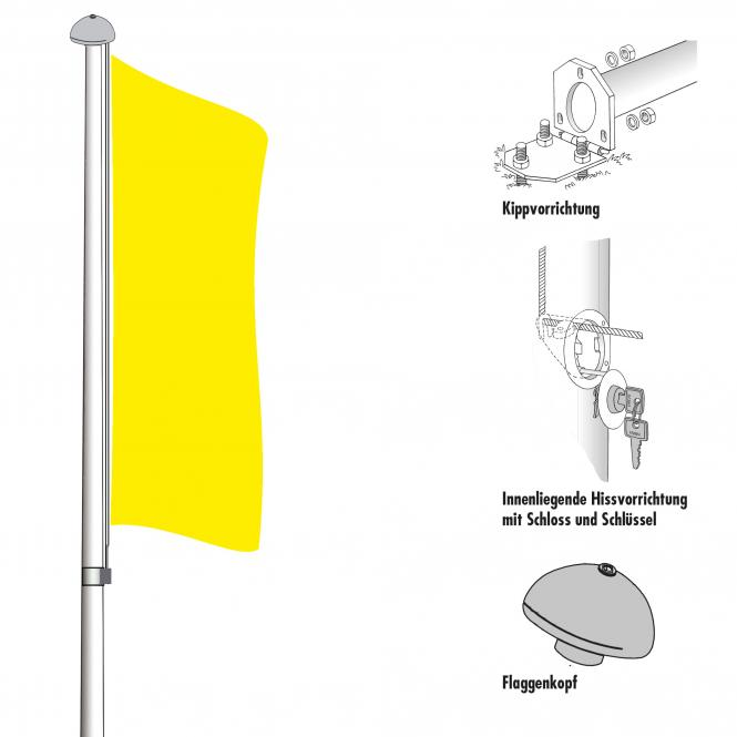 Flagpoles for outdoor use | with internal hoisting device | 10,00 m