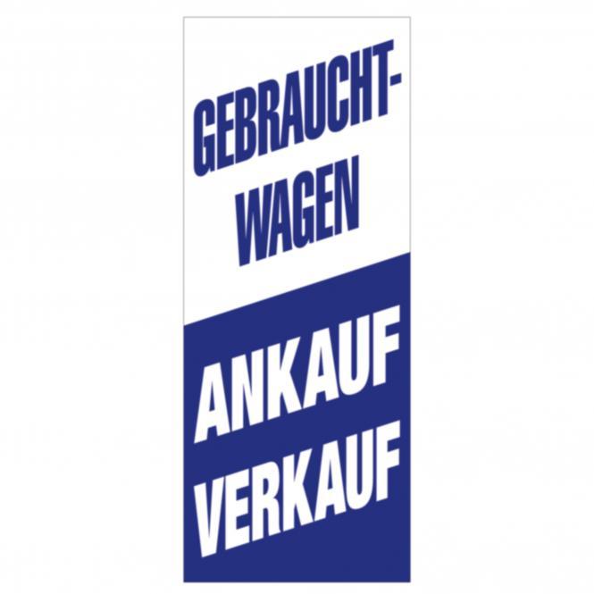 "Fahne ""Ankauf - Verkauf"", 120x300 cm | 120 x 300 cm (B x H)"