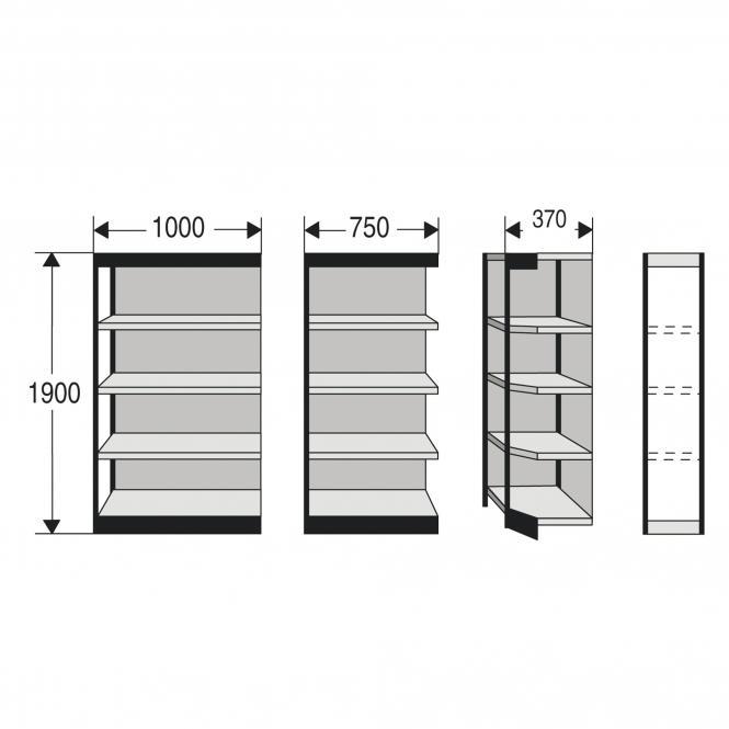 Regalfelder für Büro-Regal, mit Rückwand