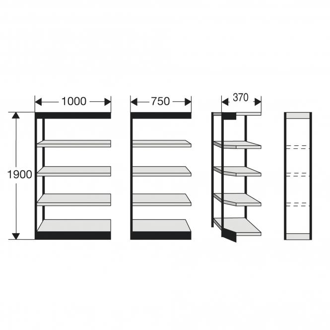 Shelf Units for office shelf, without rear wall |  |