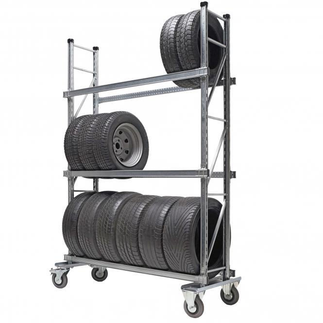 Reifenregal fahrbar mit Lagerebenen