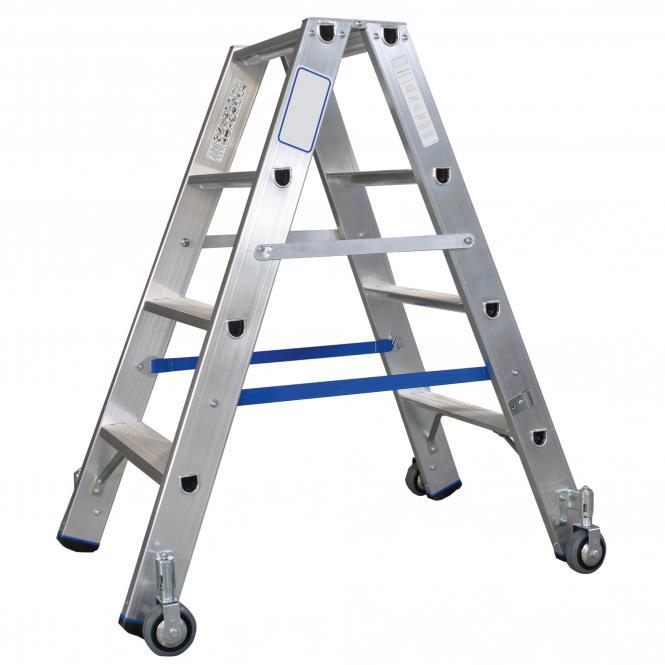 Stufen-Doppelleitern, fahrbar