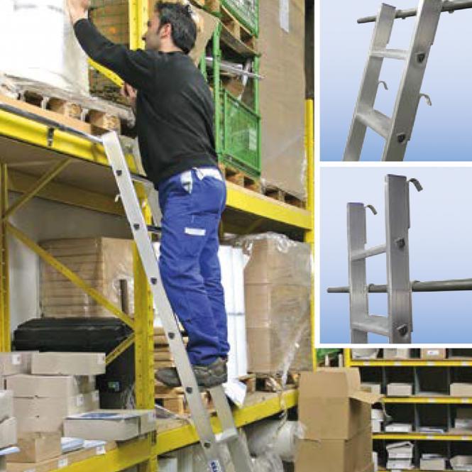 Stufen-Regalleitern, einhängbar