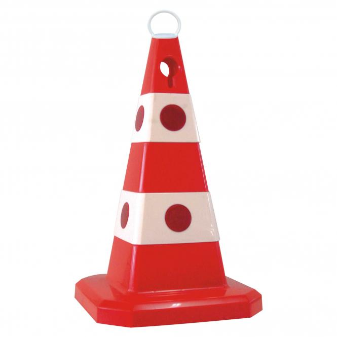 Traffic Cone, large reflectors, add. foot | red