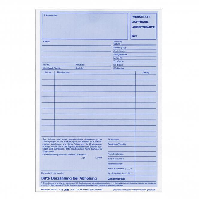 Werkstattauftrags-Arbeitskarte, 100 Stück | 2/3 DIN A4