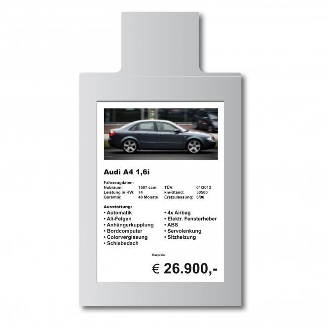Verkaufsschild für die Sonnenblende | DIN A4 | Hochformat