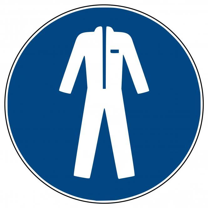 Mandatory Signs according to ASR A1.3 and DIN EN | Schutzkleidung benutzen | Foil