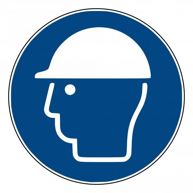 Mandatory Signs according to ASR A1.3 and DIN EN | Kopfschutz benutzen | Plastic