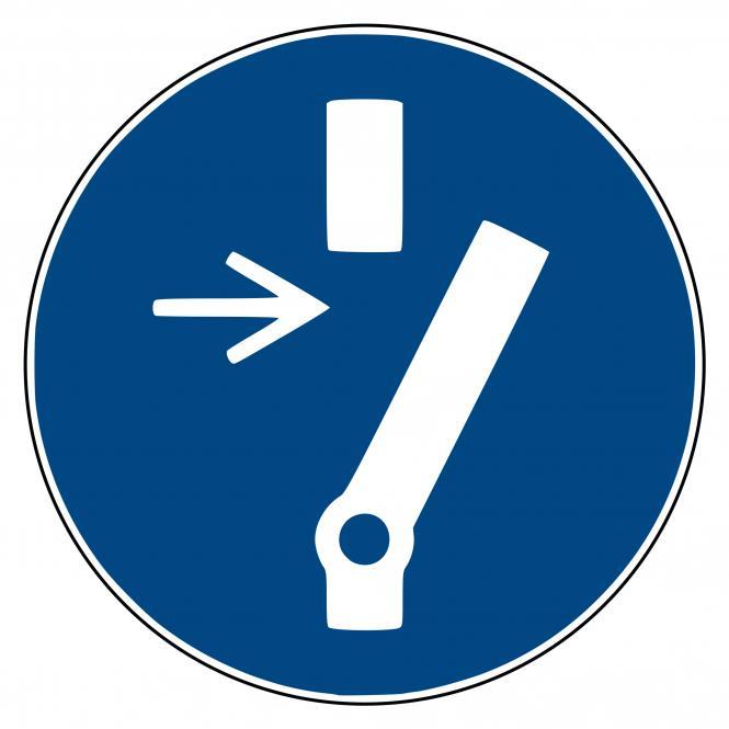 Gebotsschilder nach ASR A1.3 und DIN EN ISO 7010 | Vor Wartung oder Reparatur freischalten | Kunststoff