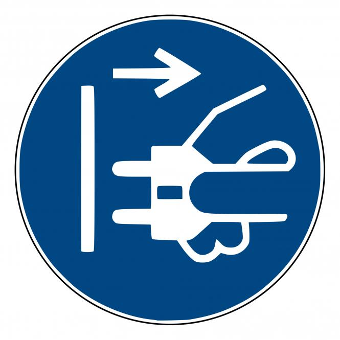 Mandatory Signs according to ASR A1.3 and DIN EN | Netzstecker ziehen | Plastic