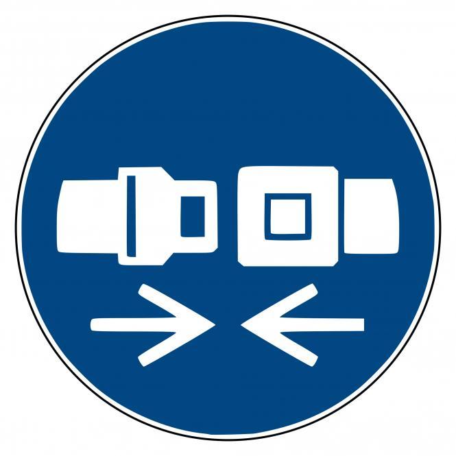 Mandatory Signs according to ASR A1.3 and DIN EN | Rückhaltesystem benutzen | Plastic