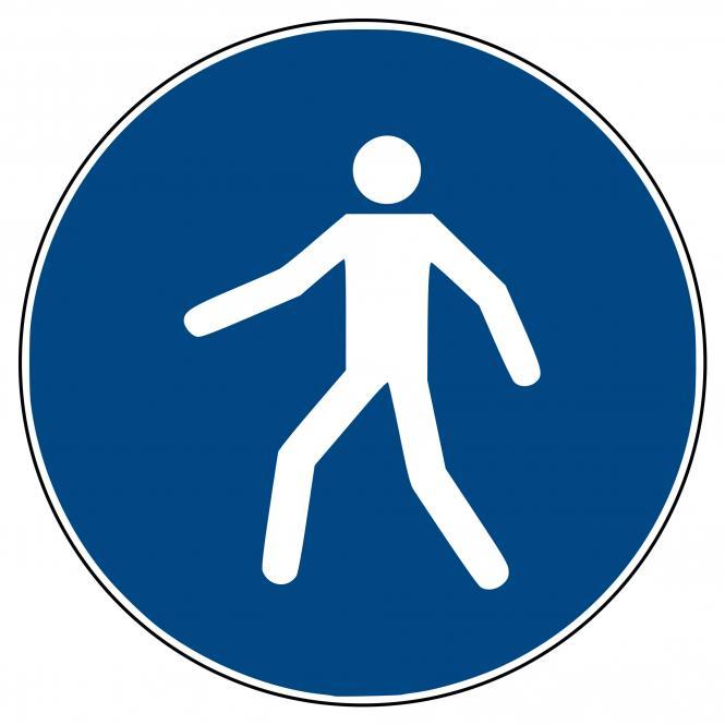 Gebotsschilder nach ASR A1.3 und DIN EN ISO 7010 | Fußgängerweg benutzen | Kunststoff