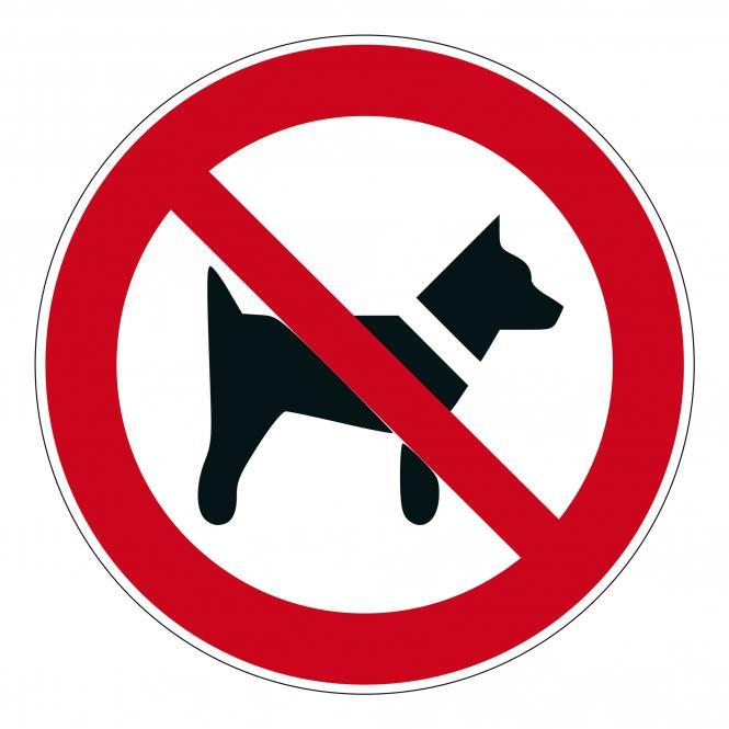 Prohibition Signs according to ASR A1.3 and DIN EN | Mitführen von Hunden verboten | Foil