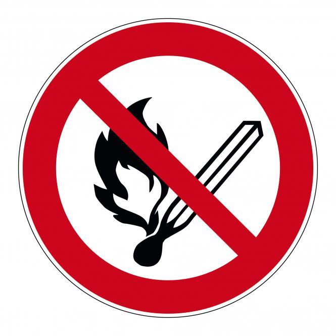 Verbotsschilder nach ASR A1.3 und DIN EN 7010 | Keine offene Flamme | Folie