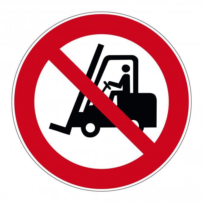 Verbotsschilder nach ASR A1.3 und DIN EN 7010 | Für Flurförderzeuge verboten | Folie