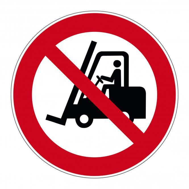 Prohibition Signs according to ASR A1.3 and DIN EN | Für Flurförderzeuge verboten | Foil