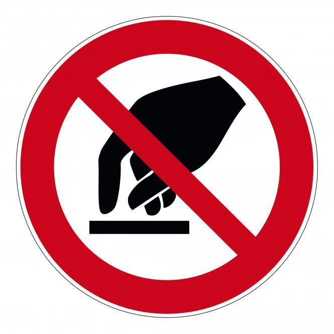 Prohibition Signs according to ASR A1.3 and DIN EN | Berühren verboten | Foil