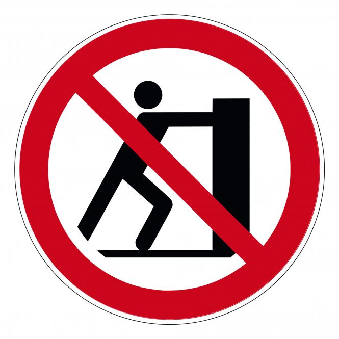 Prohibition Signs according to ASR A1.3 and DIN EN | Schieben verboten | Foil