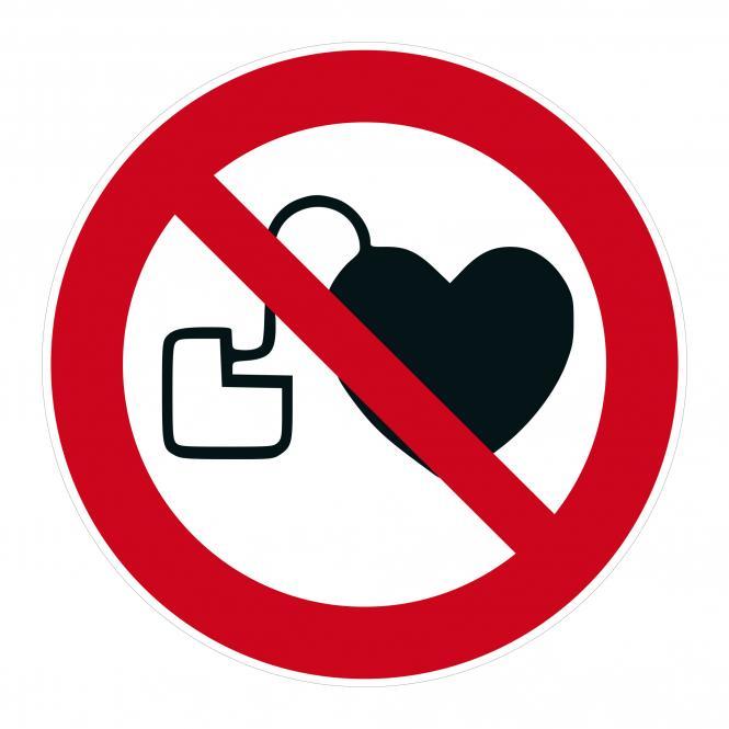 Verbotsschilder nach ASR A1.3 und DIN EN 7010 | Kein Zutritt f. Pers. m. Herzschrittm. | Kunststoff
