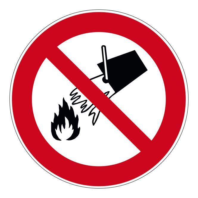 Prohibition Signs according to ASR A1.3 and DIN EN | Mit Wasser löschen verboten | Kunststoff