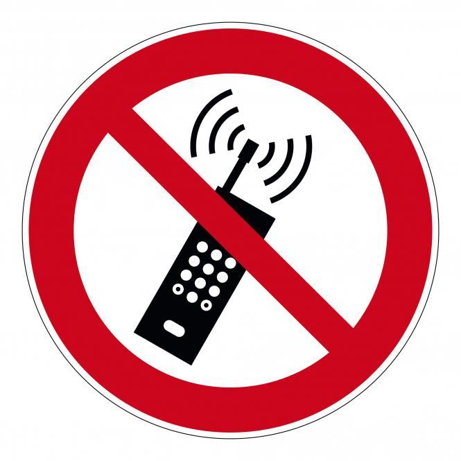 Verbotsschilder nach ASR A1.3 und DIN EN 7010 | Eingeschaltete Mobiltelefone verboten | Folie