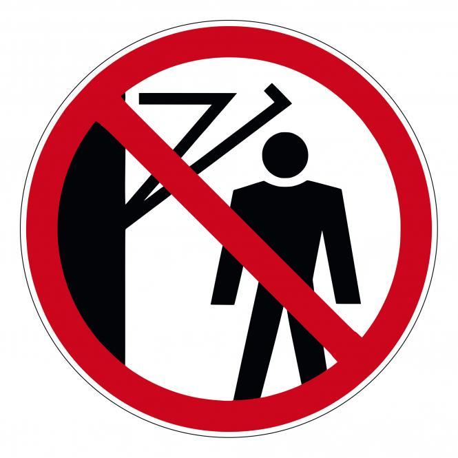 Prohibition Signs according to ASR A1.3 and DIN EN | D-P023 - Hinter den Schwenkarm treten v. | Folie