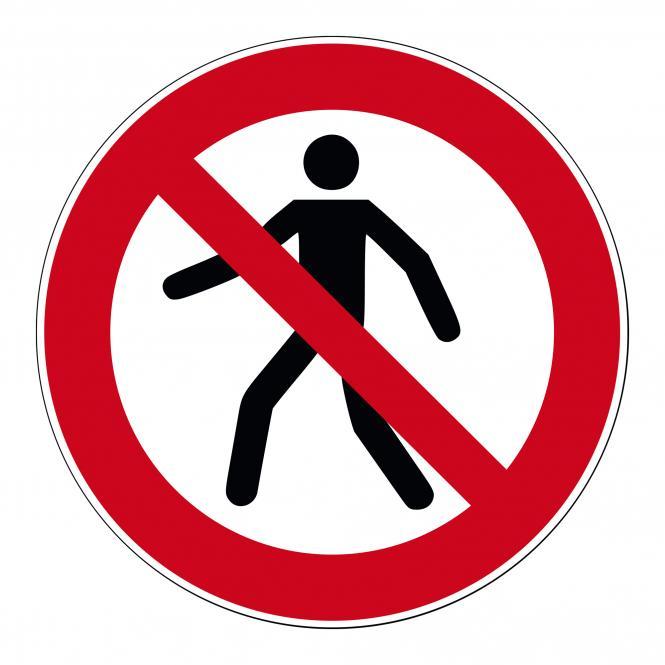 Verbotsschilder nach ASR A1.3 und DIN EN 7010 | Für Fußgänger verboten | Kunststoff