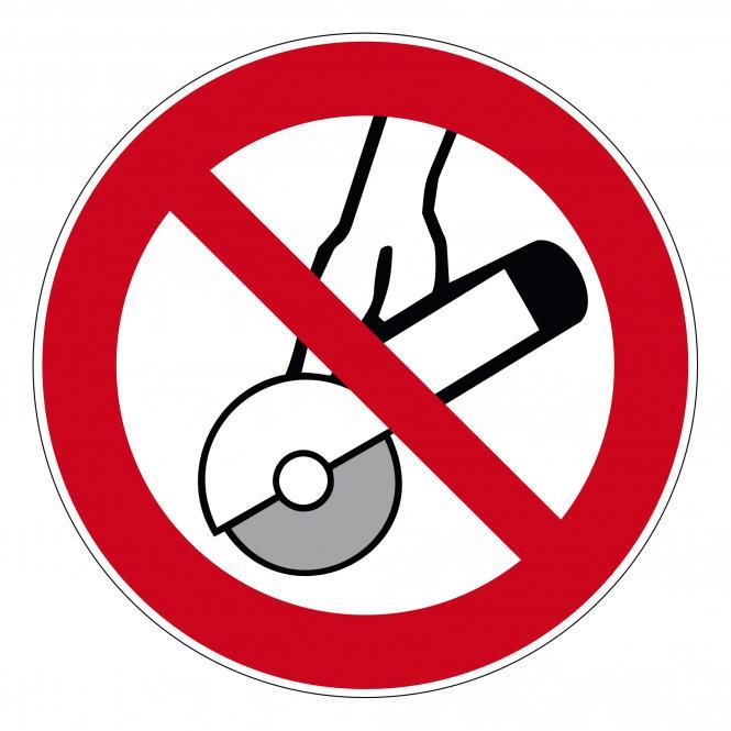 Prohibition Signs according to ASR A1.3 and DIN EN | Nicht zulässig für Freihandschleifen... | Plastic