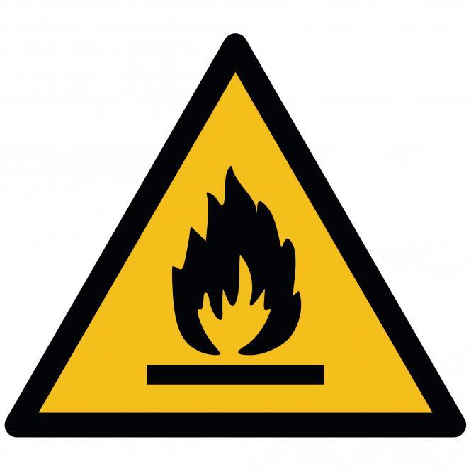 Warning Signs according to ASR A1.3 and DIN EN ISO | Warnung vor feuergefährlichen Stoffen | Plastic