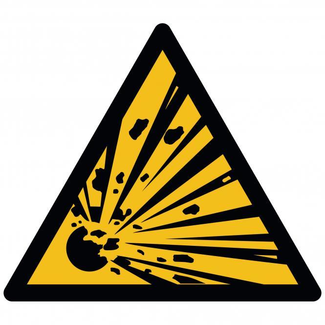 Warnschilder nach ASR A1.3 und DIN EN ISO 7010 | Warnung vor explosionsgefährl. Stoffen | Folie
