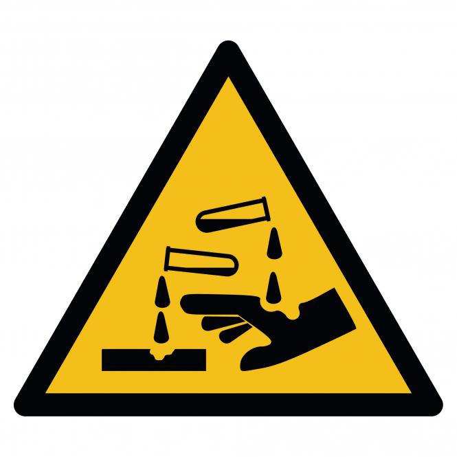 Warnschilder nach ASR A1.3 und DIN EN ISO 7010 | Warnung vor ätzenden Stoffen | Kunststoff