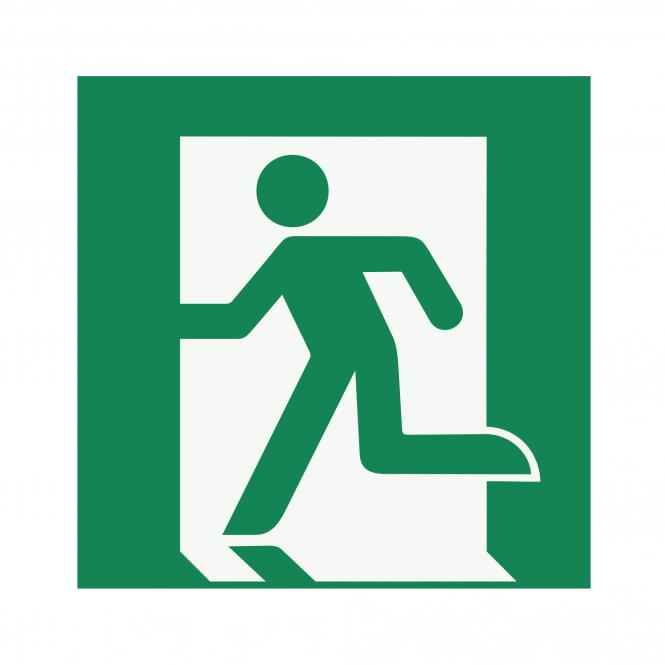 Safety Signs according to ASR A1.3, DIN EN ISO7010 | Rettungsweg/Notausgang (links) | Foil