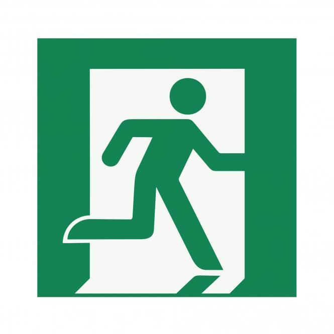 Safety Signs according to ASR A1.3, DIN EN ISO7010 | Rettungsweg/Notausgang (rechts) | Plastic