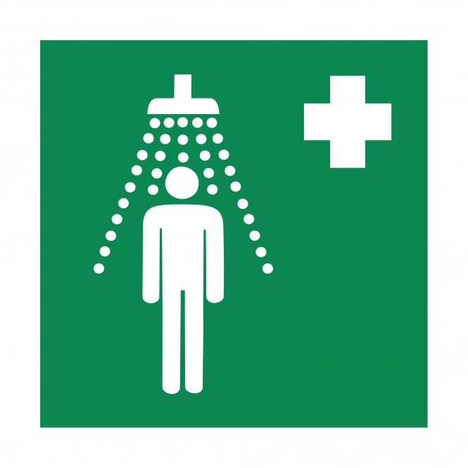 Safety Signs according to ASR A1.3, DIN EN ISO7010 | Notdusche | Plastic
