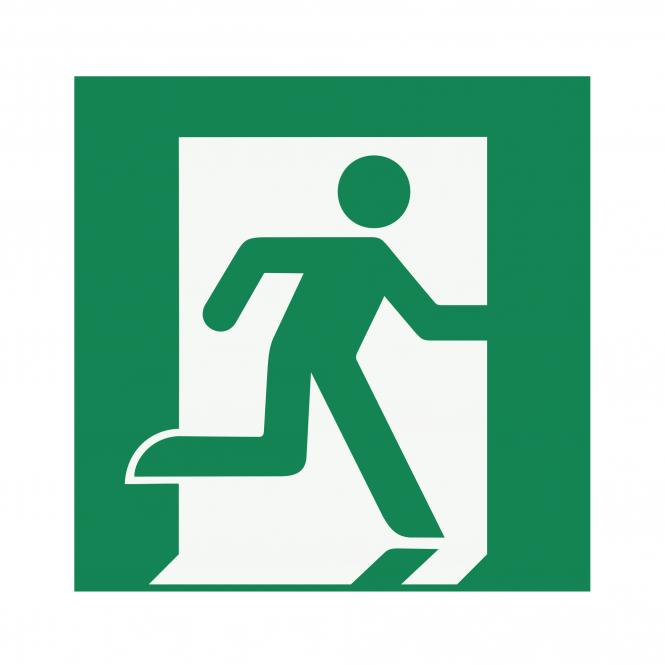 Safety Signs according to ASR A1.3, DIN EN ISO7010 | Rettungsweg/Notausgang (rechts) | Foil