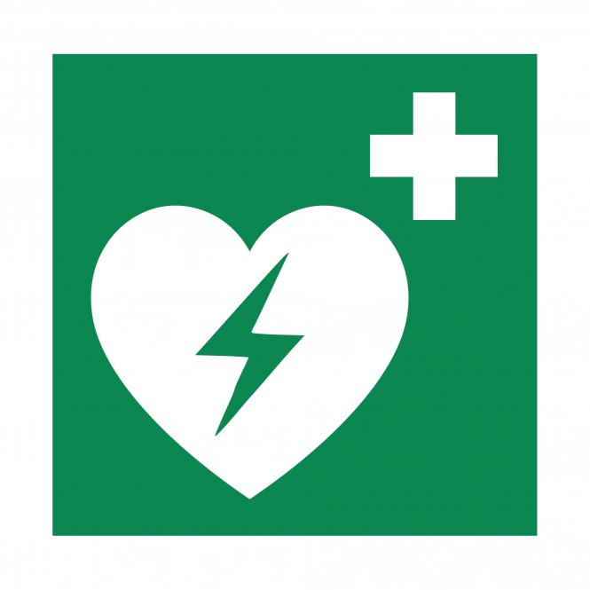 Safety Signs according to ASR A1.3, DIN EN ISO7010 | Automatisierter Externer Defibrillator | Plastic
