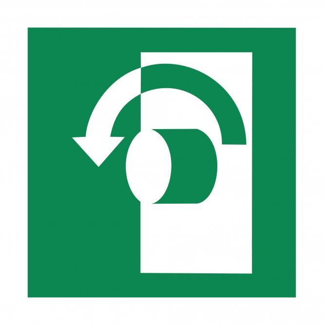 Safety Signs according to ASR A1.3, DIN EN ISO7010 | Öffnung durch Linksdrehung | Plastic
