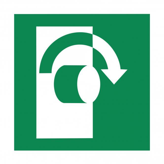 Rettungszeichen nach ASR A1.3 & DIN EN ISO 7010 | Öffnung durch Rechtsdrehung | Kunststoff