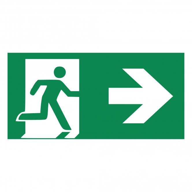 Safety Signs according to ASR A1.3, DIN EN ISO7010 | Rettungsweg/Notausgang m Zusatz (rechts) | Plastic